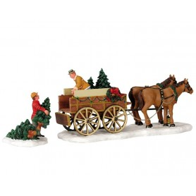 LEMAX CHRISTMAS TREE WAGON, SET OF 2 43451