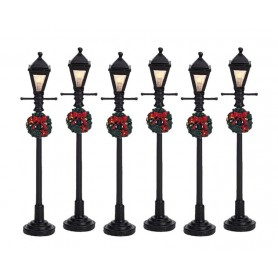 LEMAX GAS LANTERN STREET LAMP, SET OF 6