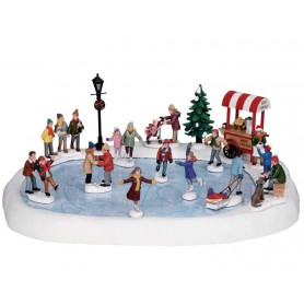 LEMAX VILLAGE SKATING POND, SET OF 18 94048