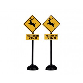 LEMAX REINDEER CROSSING SIGNS, SET OF 2
