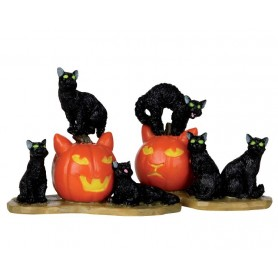 LEMAX HALLOWEEN CATS, SET OF 2