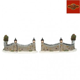LUVILLE LIGHTED STONE FENCE SET OF 4