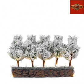 LUVILLE 5 BRISTLE TREES ON STONE WALL W.LED LIGHT