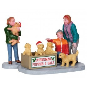 LEMAX CHRISTMAS PUPPIES, SET OF 2