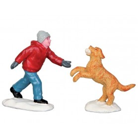 LEMAX DOG IN SNOW, SET OF 2