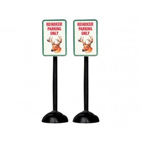 "LEMAX ""REINDEER PARKING ONLY"" SIGN, SET OF 2"
