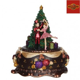 LUVILLE MUSIC BOX NUTCRACKER BALLERINA BROWN ROTATING
