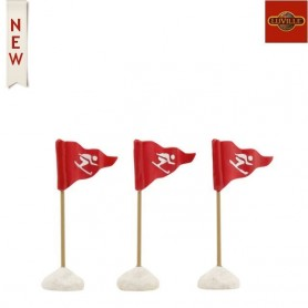 LUVILLE SKI FLAGS RED SET OF 3