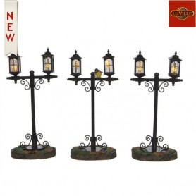 LUVILLE LANTERN WITH BIRD BLACK SET OF 3