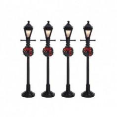 LEMAX GAS LANTERN STREET LAMP, SET OF 4 64498