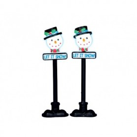LEMAX SNOWMAN STREET LAMP, SET OF 2 34640