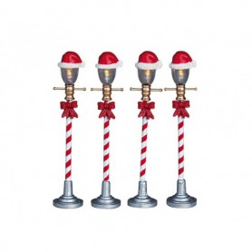 LEMAX SANTA HAT STREET LAMP, SET OF 4 64472