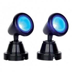 LEMAX ROUND SPOT LIGHT, BLUE, SET OF 2 54945