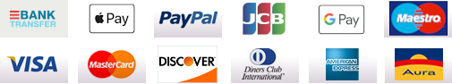 Applepay Credit Card Amex PayPal Bankwire Discover Diners American Express Visa MasterCard Maestro