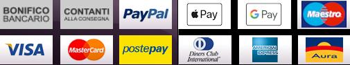 Apple Pay Amex Diners Carta di Cradito Bancomat PayPal Bonifico Postepay Contrassegno Contanti Visa MasterCard Maestro Aura