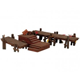 LEMAX WOODEN DOCKS, SET OF 3