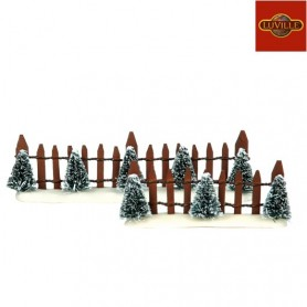 LUVILLE WOODEN FENCE GREEN TREE SET OF 2