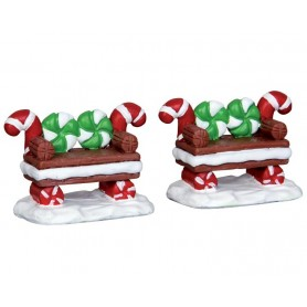 LEMAX PEPPERMINT COOKIE BENCH, SET OF 2