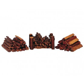 LEMAX STACKED FIREWOOD, SET OF 3