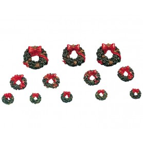 LEMAX WREATHS WITH RED BOW, SET OF 12